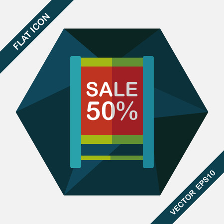 shopsign: shopping sale sign flag flat icon with long shadow,eps10