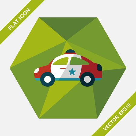 police car: Transportation police car flat icon with long shadow,eps10 Illustration