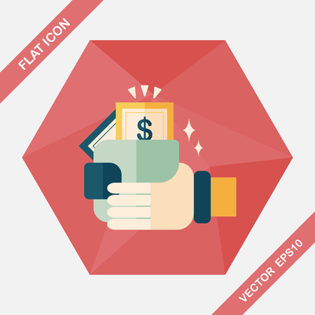 paying bills: shopping wallet flat icon with long shadow,eps10 Illustration