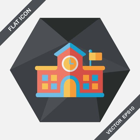 highschool: Building school flat icon with long shadow,eps10