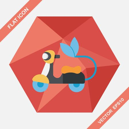 reduce: Environmental protection concept flat icon with long shadow,eps10; Reduce riding a motorcycle, reduce air pollution Illustration