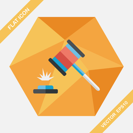 verdicts: auction hammer flat icon with long shadow,eps10 Illustration