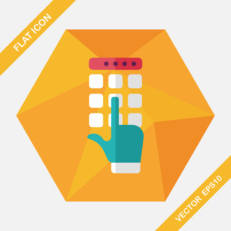 keypad: ATM flat icon with long shadow,eps10