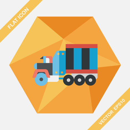 automotive industry: Transportation Tow Truck flat icon with long shadow,eps10 Illustration