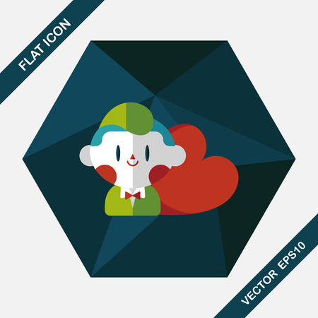 inlove: Valentines day boy flat icon with long shadow,eps10 Illustration