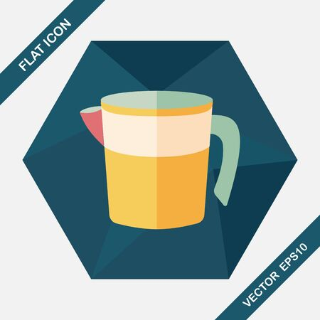 measuring cup: kitchenware measuring cup flat icon with long shadow,eps10