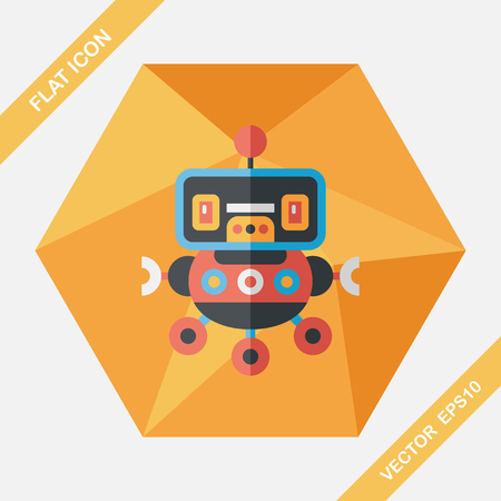 robot toy: robot concept flat icon with long shadow,eps10