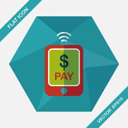 online payment: online cell phone shopping flat icon with long shadow,eps10 Illustration