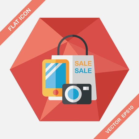 gift ribbon: shopping present flat icon with long shadow,eps10 Illustration
