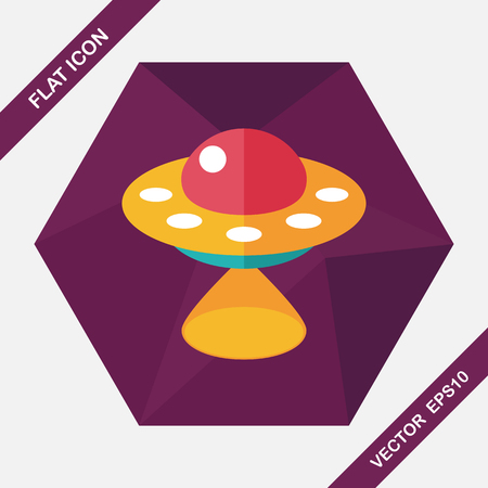 visitor: Space UFO flat icon with long shadow, eps10