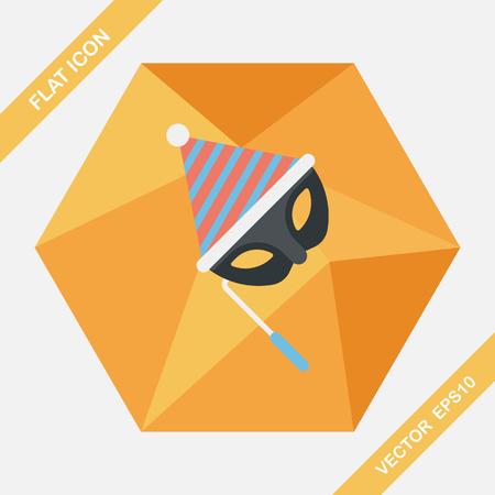 wear mask: birthday party mask flat icon with long shadow,eps10