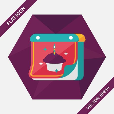 almanac: birthday calendar flat icon with long shadow,eps10