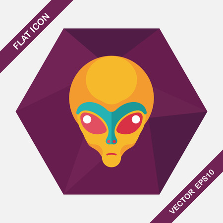 alien face: Space alien flat icon with long shadow,eps10 Illustration