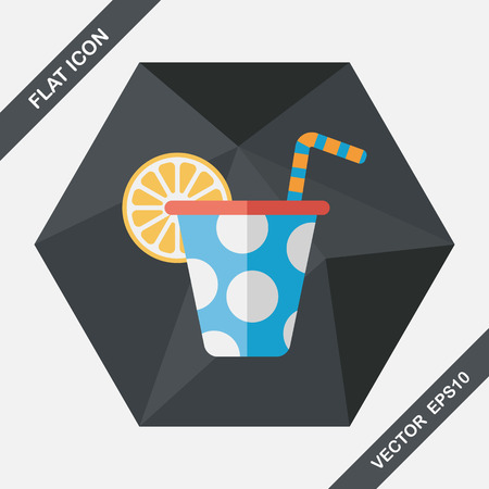 long drink: birthday party drink flat icon with long shadow,eps10 Illustration