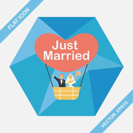 woman in dress: wedding couple flat icon with long shadow,eps10