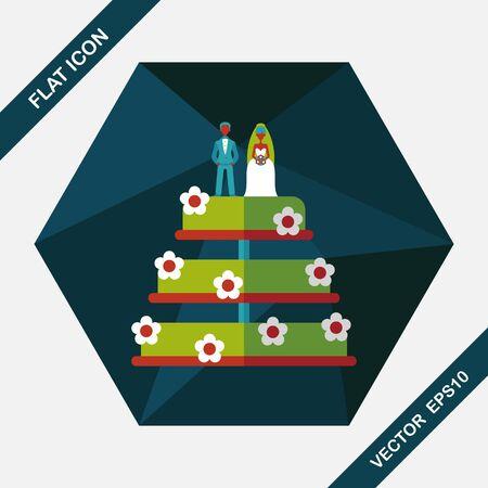 decoracion de pasteles: icono plana pastel de bodas con la sombra larga, eps10 Vectores