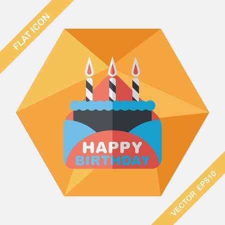 birthday greetings: tarjeta de cumplea�os icono plana con larga sombra