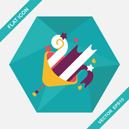 birthday party: birthday party horn flat icon with long shadow,eps10 Illustration