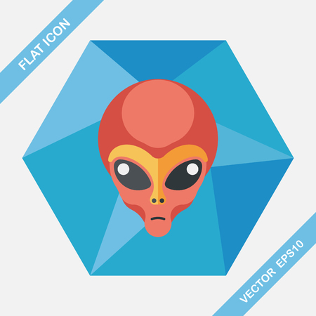 alien face: Space alien flat icon with long shadow