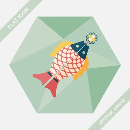 Chinese New Year flat icon with long shadow,eps, Chinese fish lucky pendant means May you always get more than you wish for.