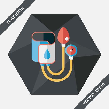 diagnosing: Sphygmomanometer flat icon with long shadow