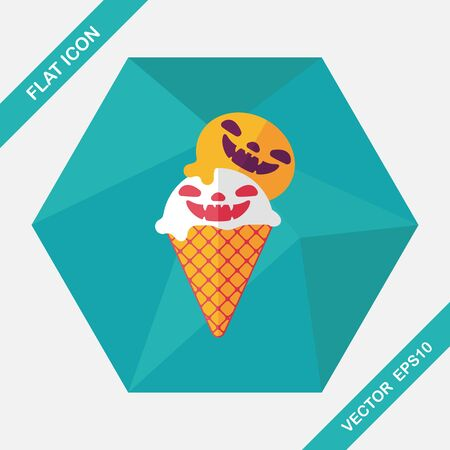 cornet: Halloween ice cream flat icon with long shadow,eps10