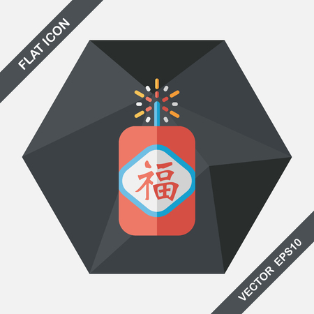 prosper: Chinese New Year flat icon, eps10, word Fu, Chinese festival couplets with firecrackers means  wish good luck and fortune comes. Illustration