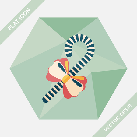spearmint: Christmas candy cane flat icon with long shadow,eps10