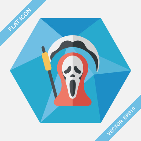 harbinger: Grim Reaper flat icon with long shadow,eps10