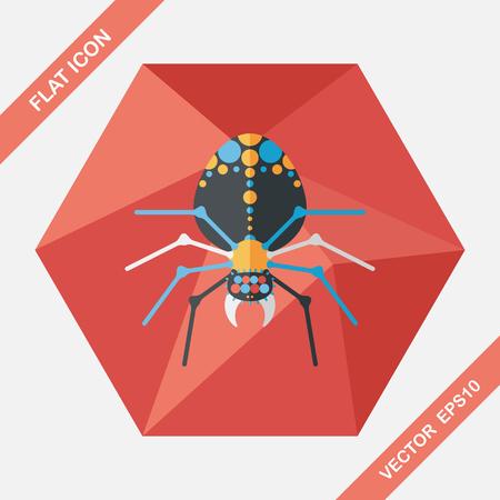 sacrifice: Halloween spider flat icon with long shadow,eps10 Illustration