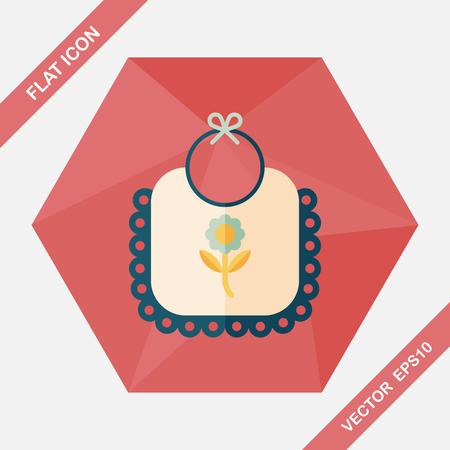 babero: icono plana babero del bebé con una larga sombra, EPS 10