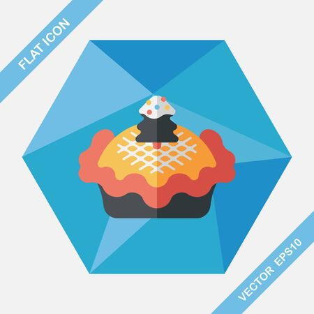 spice cake: Christmas pie flat icon with long shadow,eps10