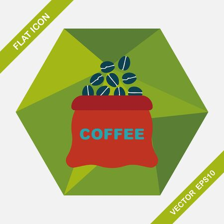 coffe beans: coffee bean flat icon with long shadow,eps10