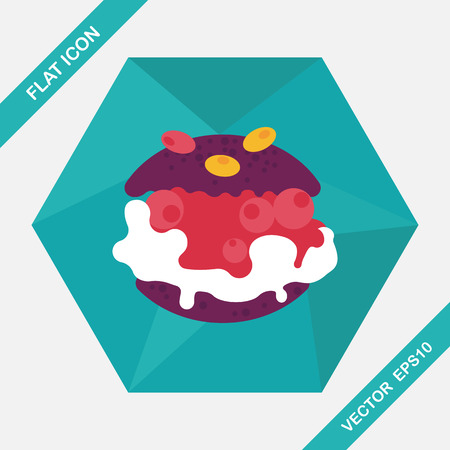 cream filled: Cream puffs flat icon with long shadow,eps10