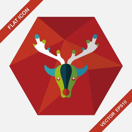 zoo: Reindeer flat icon with long shadow, eps10