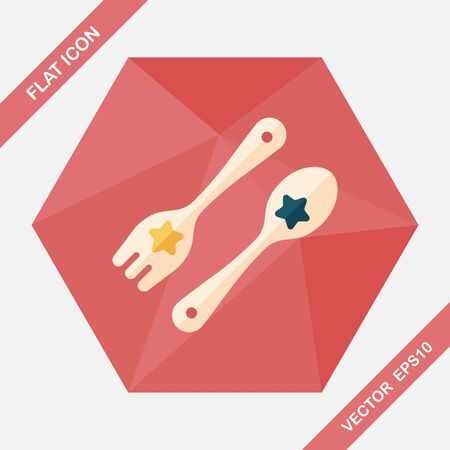 dishware: dishware and cutlery flat icon with long shadow,eps10 Illustration