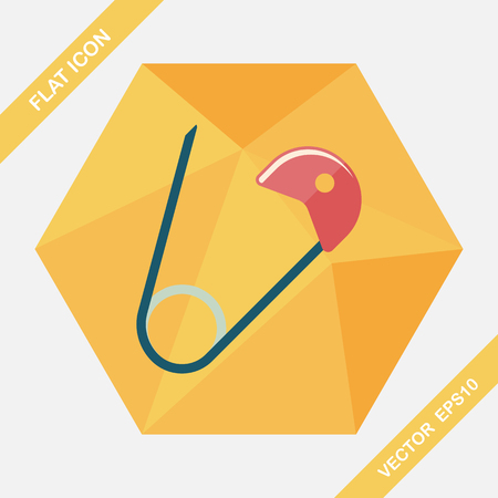 nappy: Safety pin flat icon with long shadow,EPS 10 Illustration