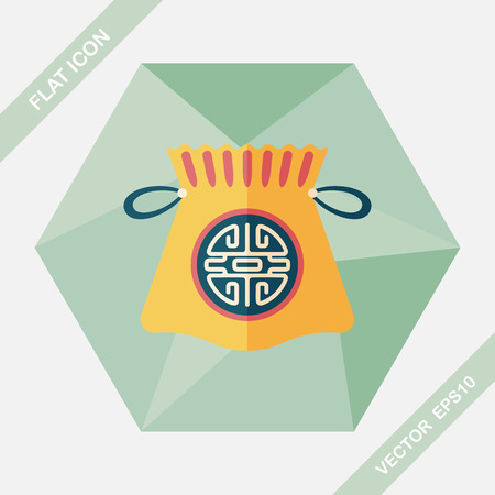 chinese new year flat icon with long shadoweps10 chinese lucky gifts vector - Chinese New Year 1997