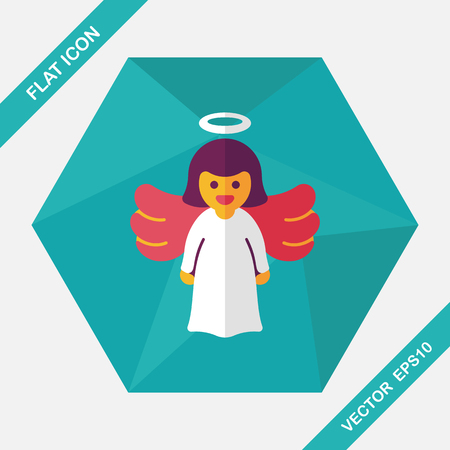 catholicism: angel flat icon with long shadow, eps10