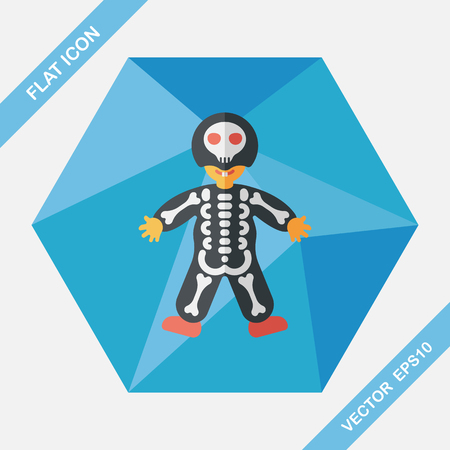 haunting: skeleton flat icon with long shadow,eps10