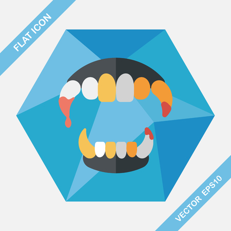 fangs: Halloween fangs flat icon with long shadow,eps10