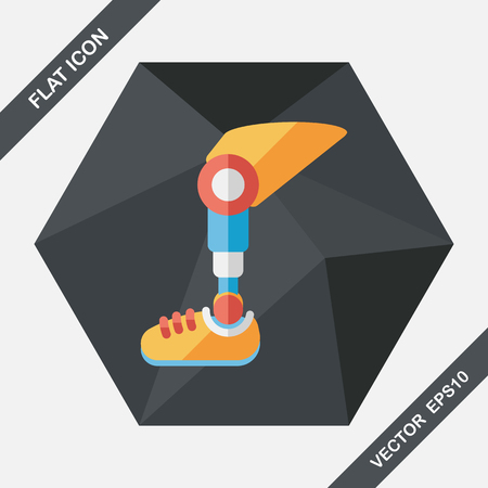 prosthetic: prosthetic leg flat icon with long shadow Illustration