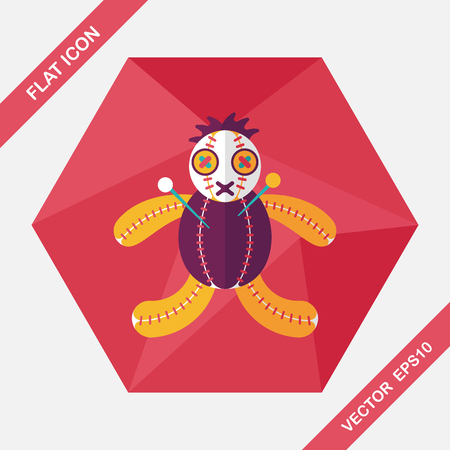 Halloween voodoo doll flat icon with long shadow,eps10 Illustration