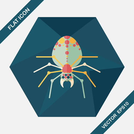 illustration zoo: Halloween spider flat icon with long shadow,eps10 Illustration