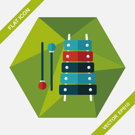 xylophone: Xylophone flat icon with long shadow,eps10