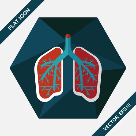 persona respirando: Lungs flat icon with long shadow Vectores