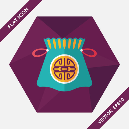 asian friends: Chinese New Year flat icon with long shadow,eps10, Chinese lucky gifts Illustration