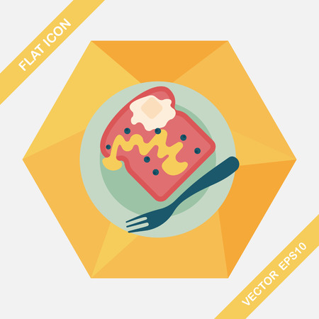 toasted sandwich: breakfast toast flat icon with long shadow,eps10 Illustration