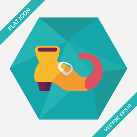 wicked witch: Witchs boots flat icon with long shadow,eps10 Illustration