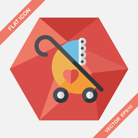 perambulator: Baby carriages flat icon with long shadow,eps10 Illustration